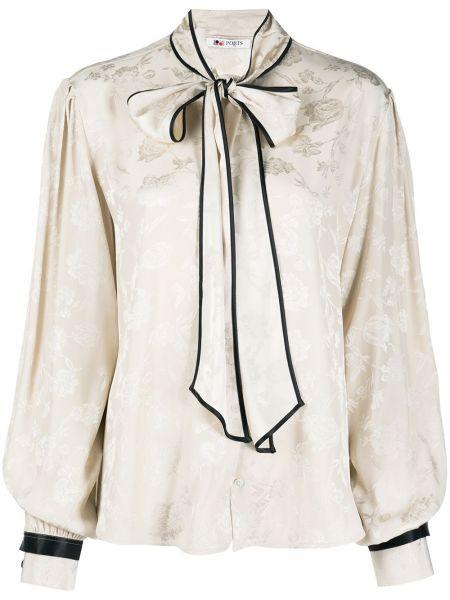 Jedwab biały krawat z długimi rękawami z mankietami Ports 1961