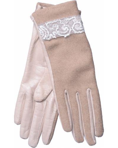 Кожаные перчатки замшевые бежевые Georges Morand