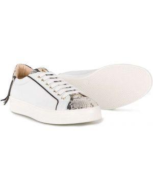 Золотистые белые кроссовки из искусственной кожи на шнуровке Cesare Paciotti Kids