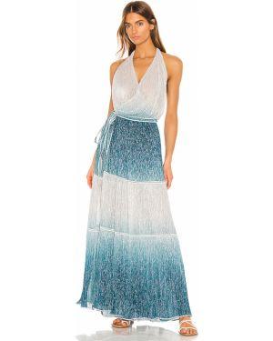 Niebieska sukienka długa kopertowa Chio