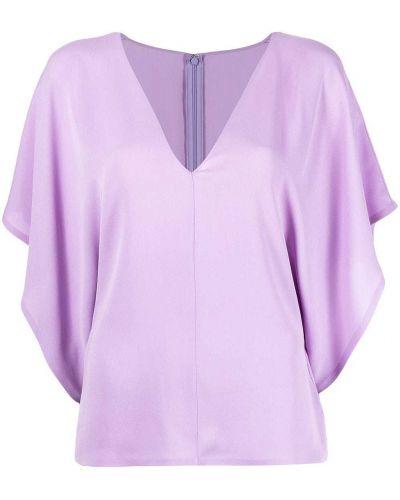 С рукавами шелковая блузка с V-образным вырезом Valentino