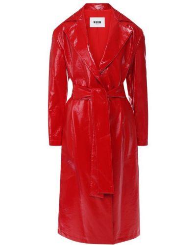 Пальто с поясом с карманами Msgm