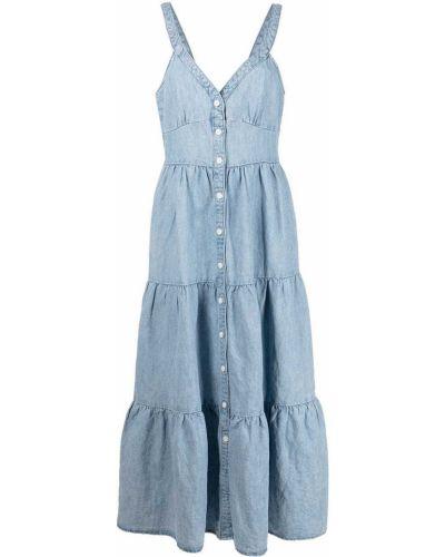 Niebieska sukienka midi bawełniana z dekoltem w serek Levi's