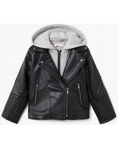 Черная куртка кожаная Mango Kids