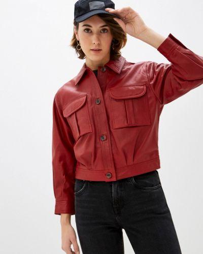 Кожаные красные джинсы Pepe Jeans