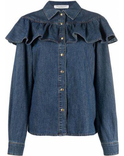 Синяя с рукавами джинсовая рубашка с воротником Philosophy Di Lorenzo Serafini