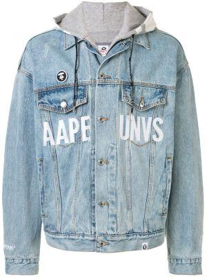 Хлопковая синяя джинсовая куртка оверсайз с карманами Aape By A Bathing Ape