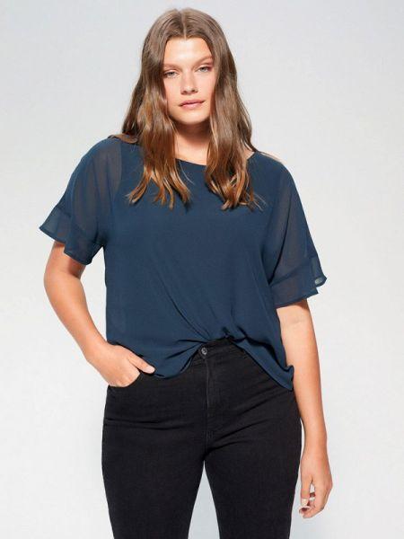 Блузка с коротким рукавом синяя весенний Violeta By Mango