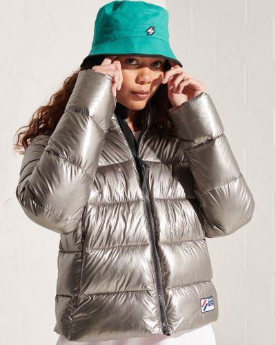 Серебряная дутая куртка металлическая Superdry