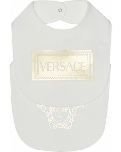 Белый хлопковый нагрудник Versace Kids