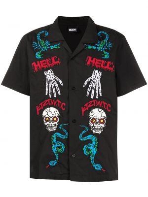 Czarna koszula krótki rękaw bawełniana Ktz