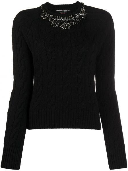 Черный шерстяной свитер круглый Ermanno Scervino