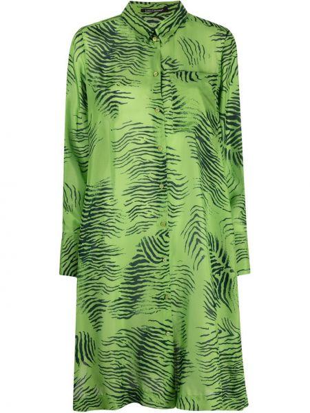 Шелковое платье макси - зеленое Luisa Cerano