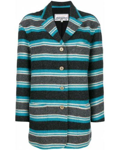 Синее пальто классическое с капюшоном узкого кроя Krizia Pre-owned