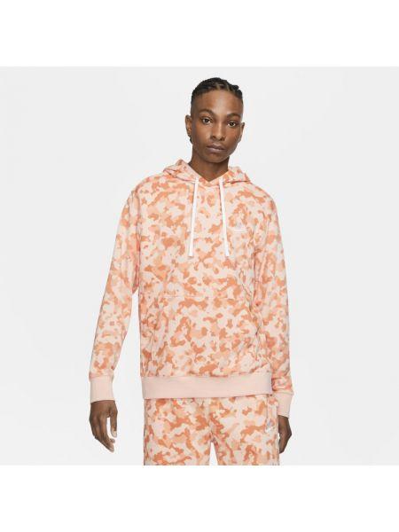 Różowa bluza z kapturem z printem Nike