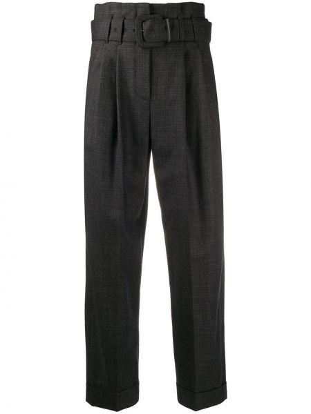 Шерстяные черные брюки со складками Brunello Cucinelli
