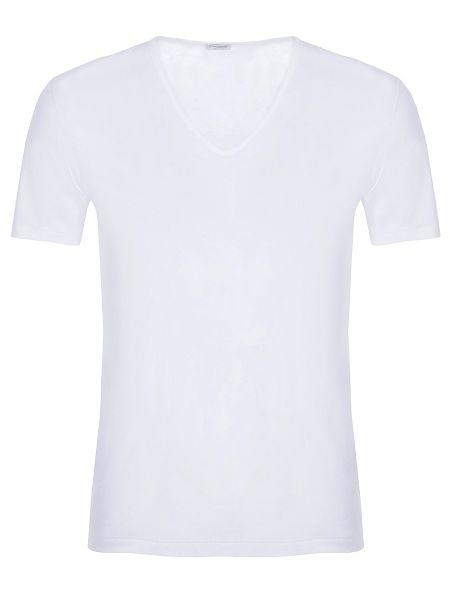Хлопковая белая базовая футболка с V-образным вырезом Zimmerli