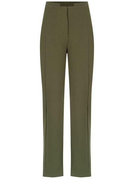Зеленые брюки с воротником с высокой посадкой из вискозы Mara Mac