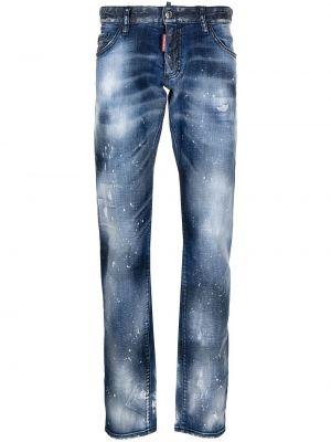 Синие прямые джинсы с низкой посадкой Dsquared2