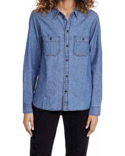 Хлопковая классическая рубашка с длинными рукавами с карманами Madewell