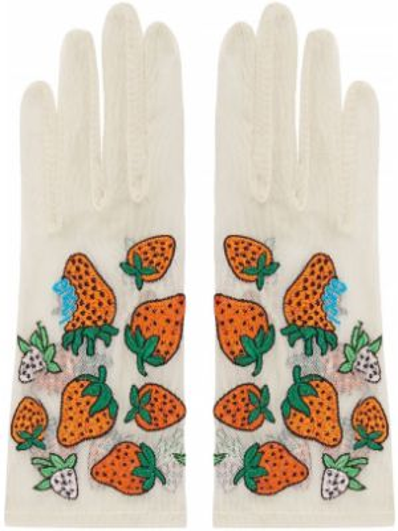 Białe rękawiczki z haftem tiulowe Gucci