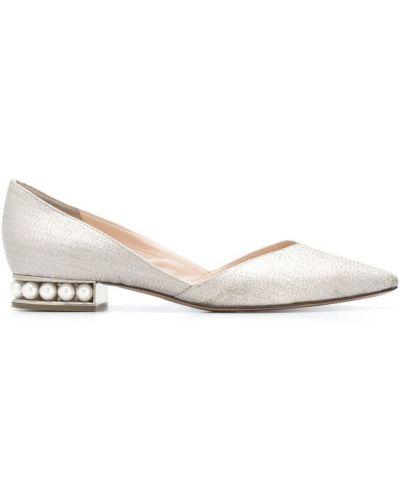 Balerinki srebrne perły Nicholas Kirkwood