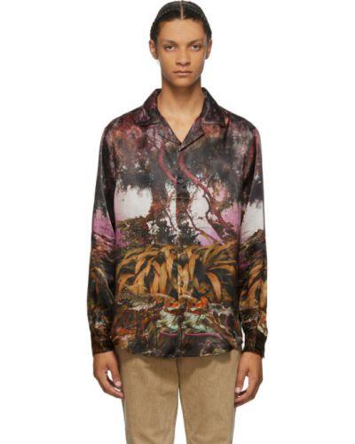 Сатиновая рубашка с воротником с манжетами с длинными рукавами Phipps