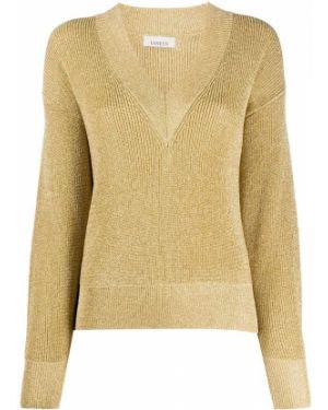 С рукавами желтый длинный свитер из вискозы Laneus