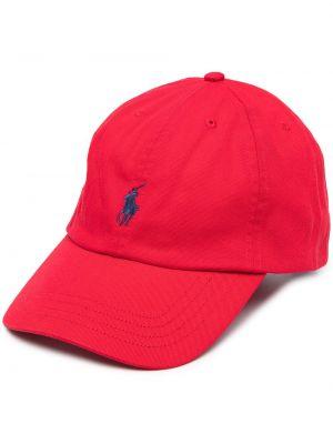 Хлопковая красная кепка с вышивкой Ralph Lauren Kids