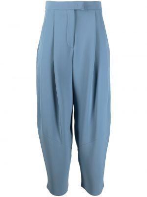 Шелковые синие с завышенной талией брюки Giorgio Armani