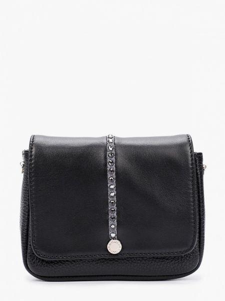 Черная кожаная сумка с перьями из натуральной кожи Marina Creazioni