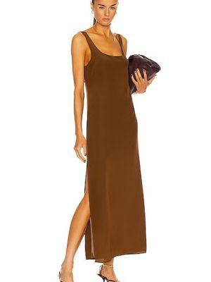 Облегченное коричневое шелковое платье Matteau
