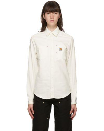 Brezentowy biały koszula z kieszeniami z łatami Carhartt Work In Progress