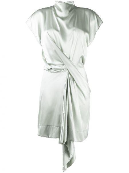 С рукавами зеленое платье мини с запахом Nina Ricci