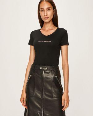 Koszula krótkie rękawy długo czarny Emporio Armani