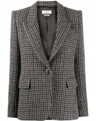 Шерстяной серый удлиненный пиджак в клетку Isabel Marant étoile