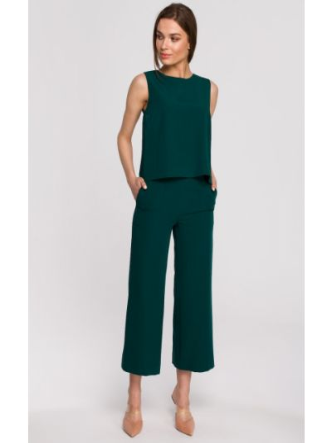 Zielona bluzka elegancka bez rękawów z wiskozy Stylove