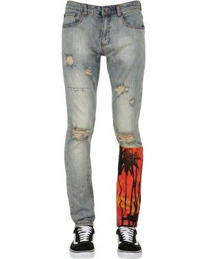 Niebieskie jeansy z printem Serenede