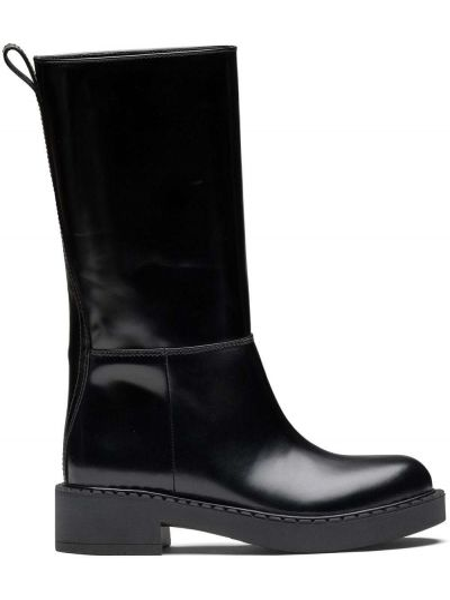 Czarny buty na pięcie z prawdziwej skóry na pięcie okrągły nos Prada