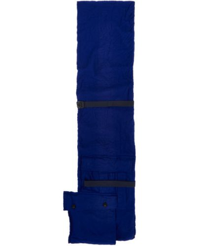 Wełniany niebieski szalik prążkowany prostokątny Sacai