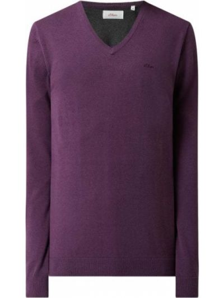 Sweter z dekoltem w serek - fioletowy S.oliver Red Label