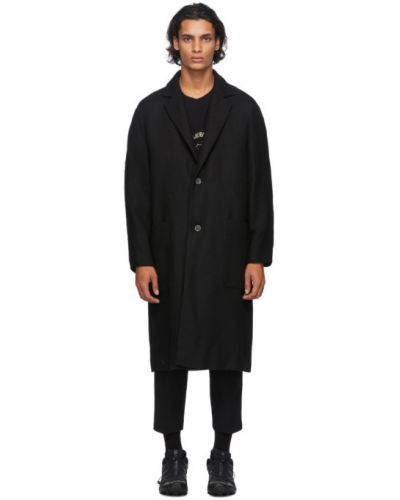 Czarny długi płaszcz wełniany z długimi rękawami Song For The Mute