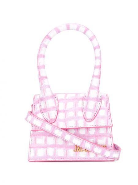 Кожаная сумка розовый с леопардовым принтом Jacquemus