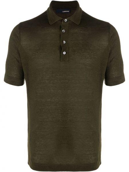 Zielona koszula krótki rękaw materiałowa Lardini