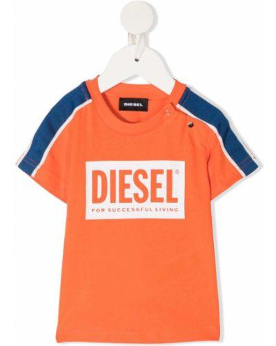 Прямая футболка с вырезом в полоску Diesel Kids
