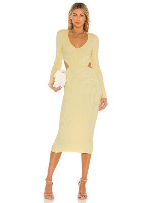 Żółta prążkowana sukienka midi z wiskozy Camila Coelho