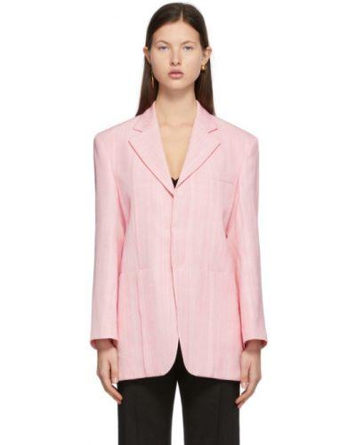 Розовый удлиненный пиджак с подкладкой с воротником Jacquemus