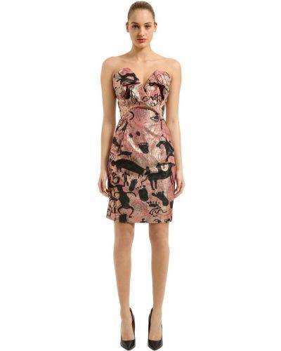Приталенное розовое коктейльное платье без бретелек Vivienne Westwood