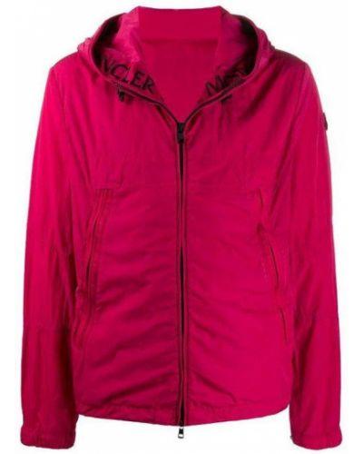 Różowa długa kurtka z kapturem miejska Moncler
