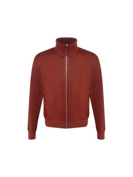 Кожаная куртка с воротником - оранжевая Andrea Campagna